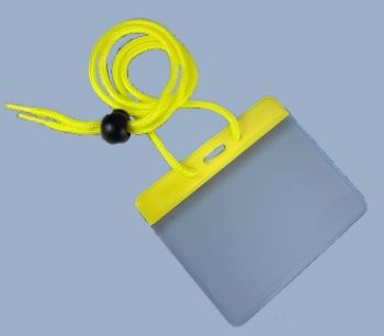 Vinyl Card holder - colour with Cord  / 100 Pcs